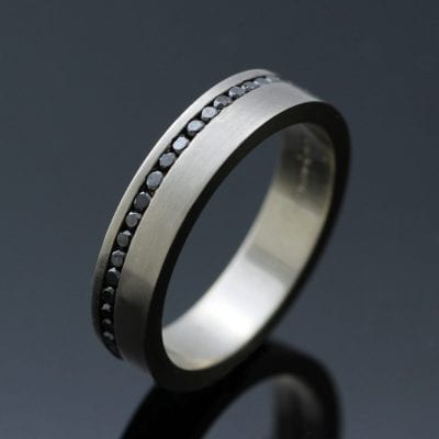 Contemporary full eternity black diamond white gold handcrafted ring