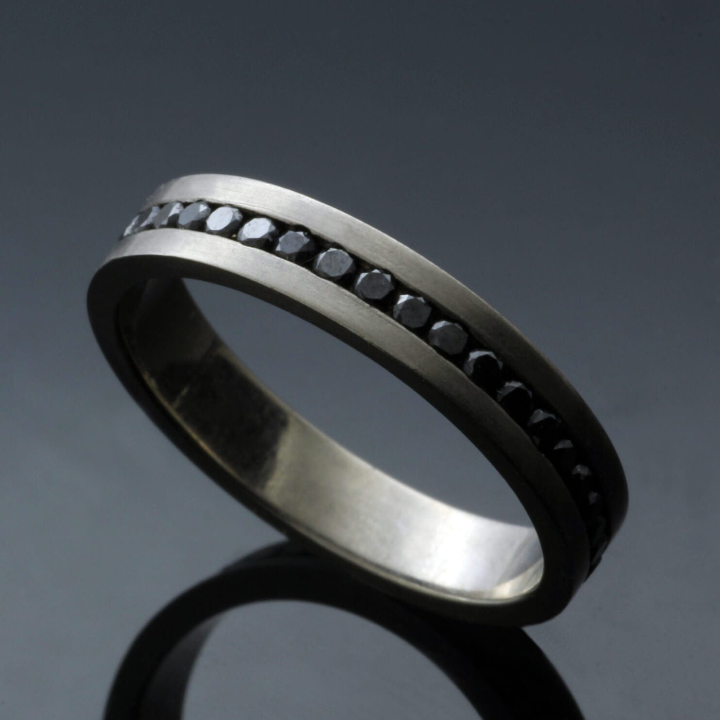 Contemporary Full Eternity band solid 18ct White Gold channel set Black Diamonds