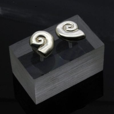 Sterling Silver Amonite fossil shell stud earrings