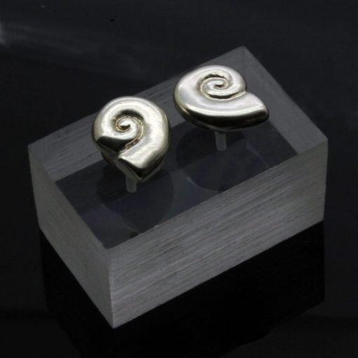 Sterling Silver Amonite fossil shell stud earrings