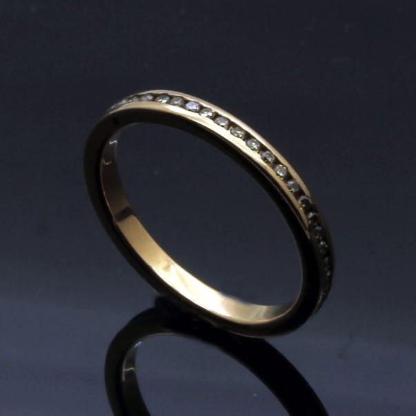 Full eternity ring Rose Gold Champagne Diamonds handmade contemporary ring