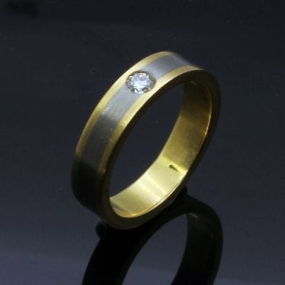 Unique modern handmade Yellow Gold White Gold Diamond wedding band