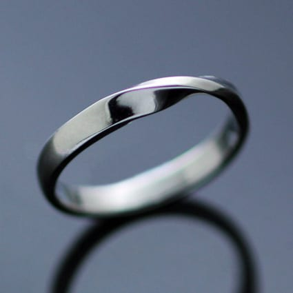 White Gold Flat Twist wedding band contemporary design unique