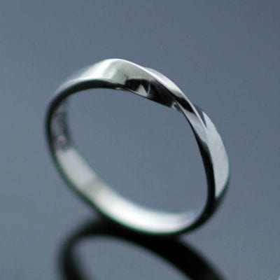 Handmade 18ct white gold contemporary wedding band modern style