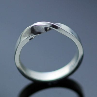 Sterling Silver wedding band handmade 4mm Flat band with unique twist