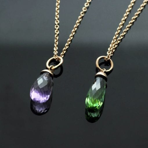 Amethyst Tourmaline briolette cut birthstone Rose Gold necklaces