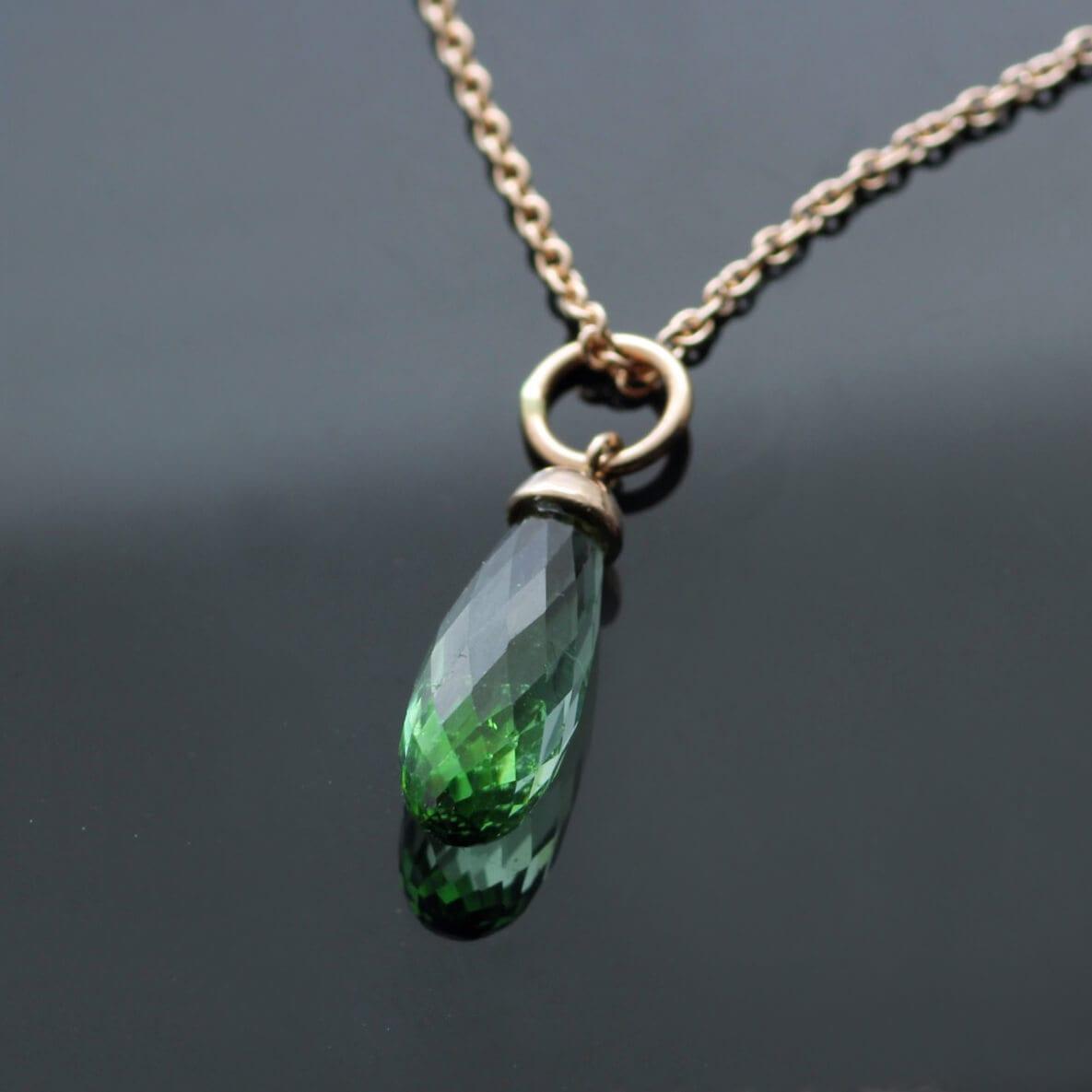 Rose Gold Tourmaline Briolette birthstone necklace