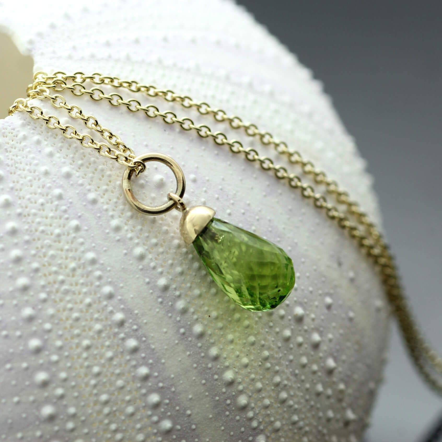 Peridot Briolette gemstone Yellow Gold necklace