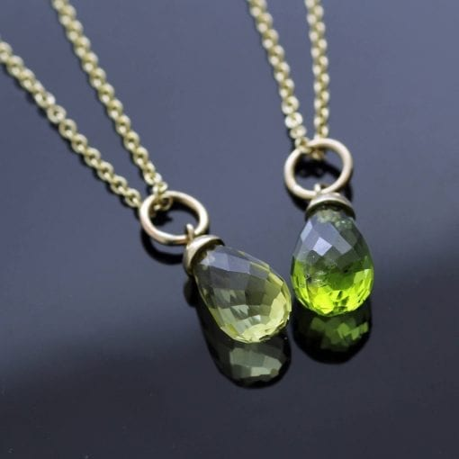 Peridot Lemon Quartz Briolette cut birthstone yellow gold pendants