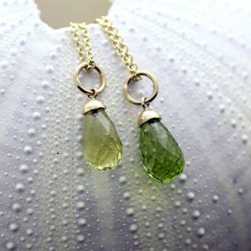 Lemon Quartz Peridot Briolette cut birthstone jewellery in yellow gold