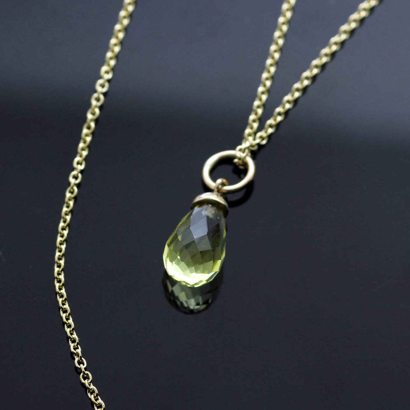 Gemstone Yellow Gold modern necklace with Lemon Quartz briolette