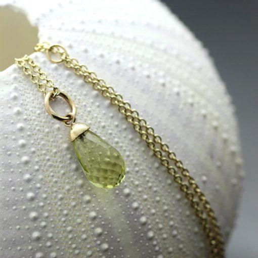 Lemon Quartz briolette cut gemstone and yellow gold necklace