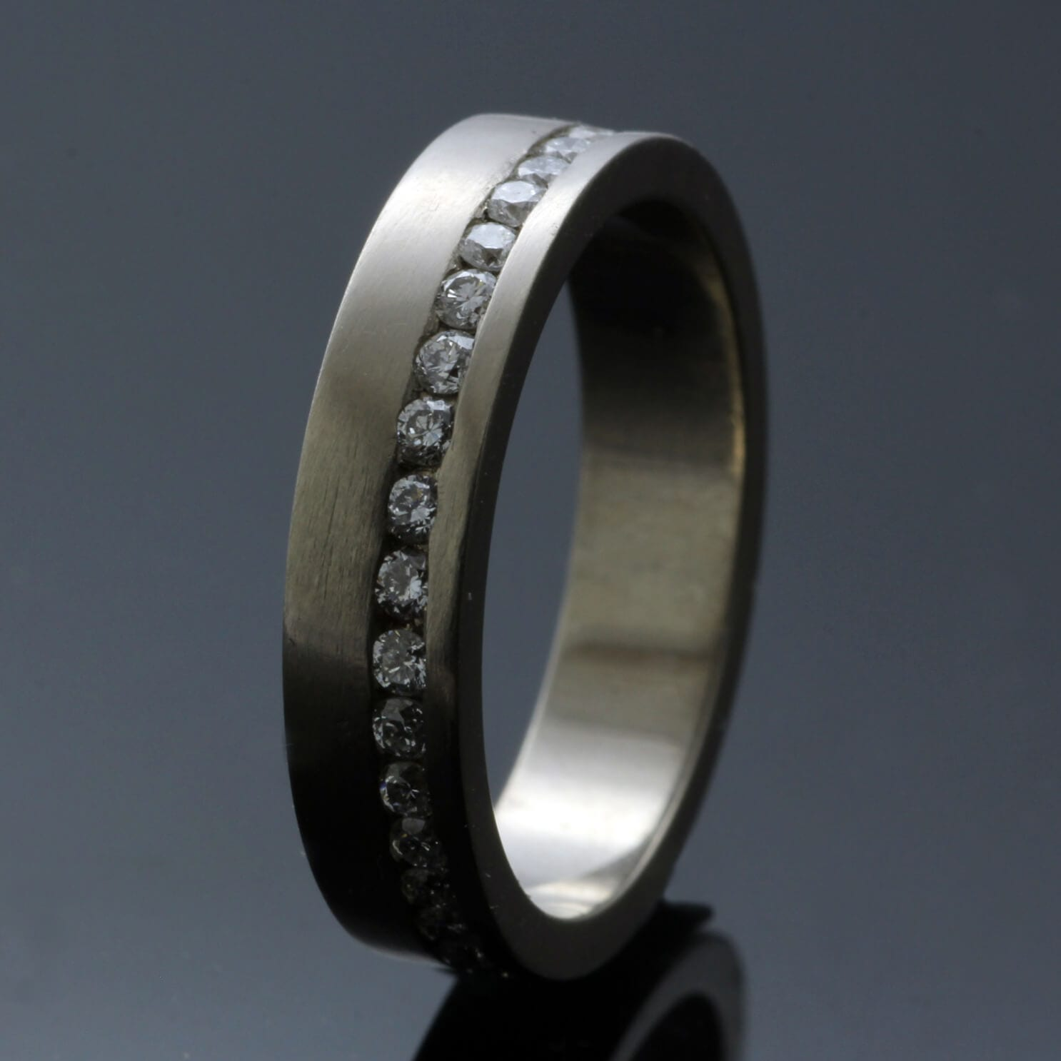 Modern Eternity band solid 18ct White Gold Diamond ring