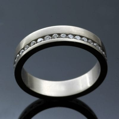 Handmade full Eternity band White Gold channel set Diamonds