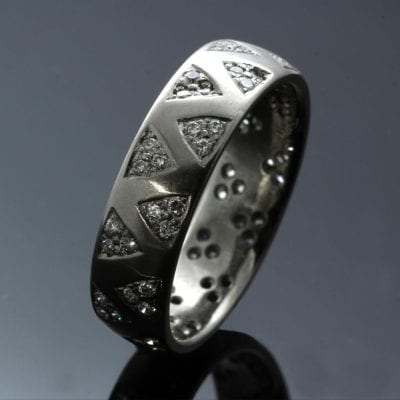 Handmade 18ct White Gold pave set Diamonds handmade modern ring