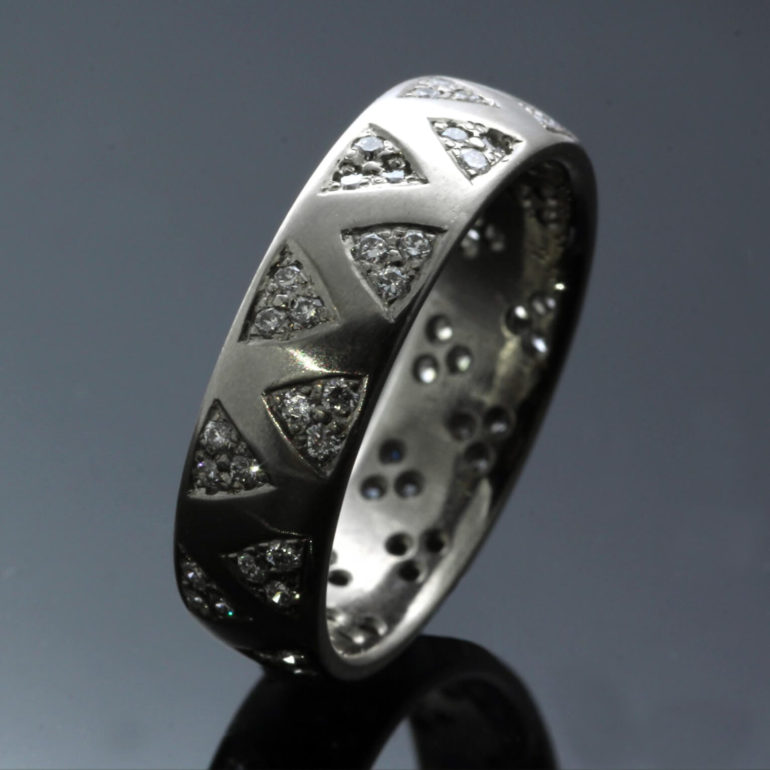 Handmade 18ct White Gold pave set Diamonds handmade modern ring