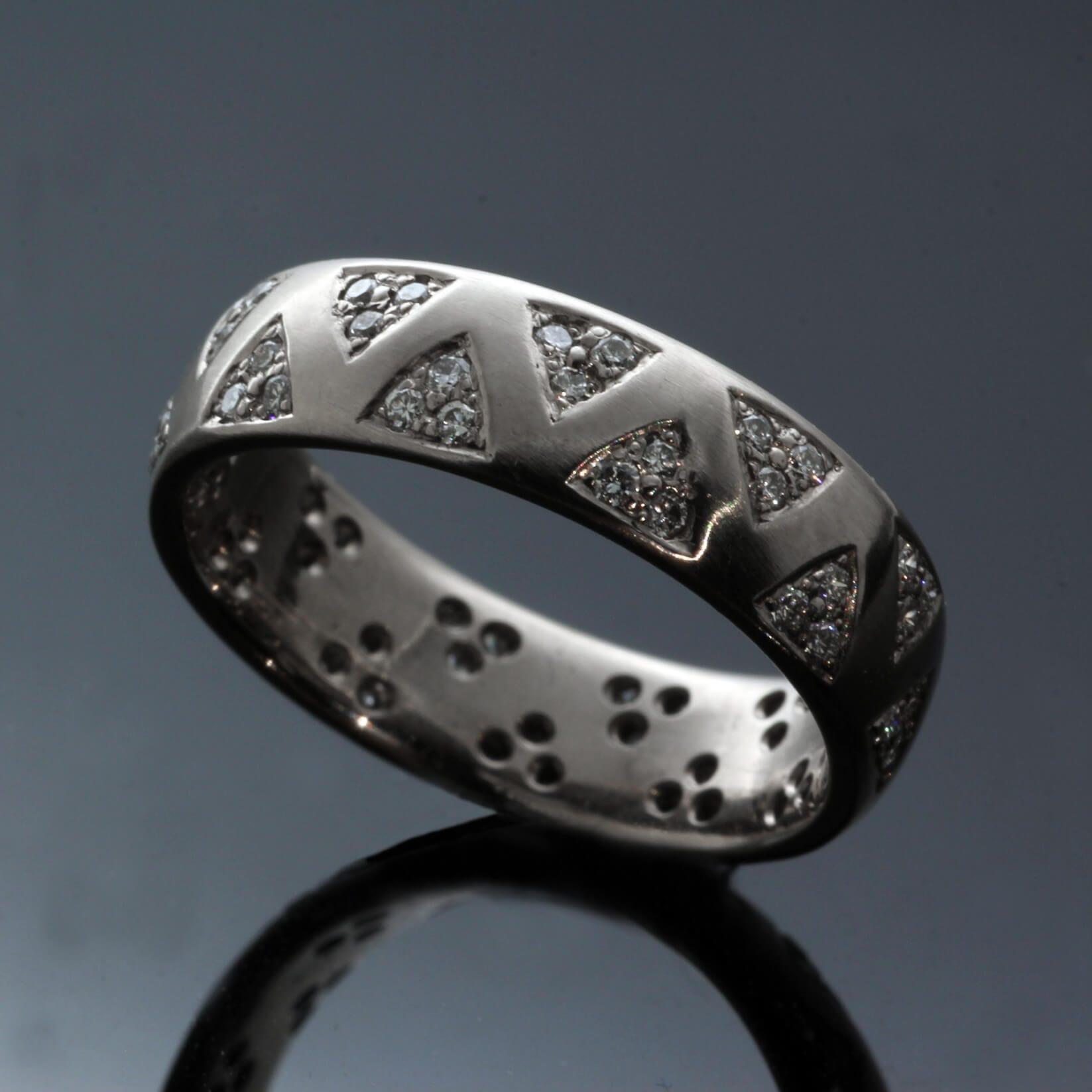 Contemporary White Gold pave set Diamond wedding eternity contemporary ring