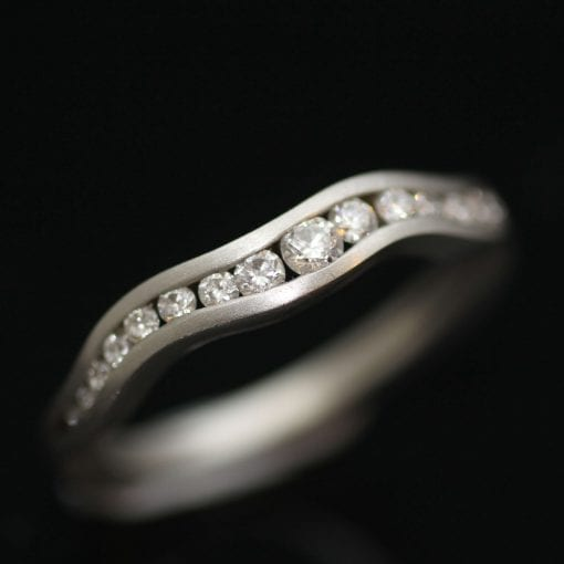 Modern Double Wave stacking eternity ring handset with Diamonds