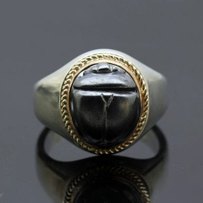 Handmade bespoke mens signet ring with oxidised scarab beetle design