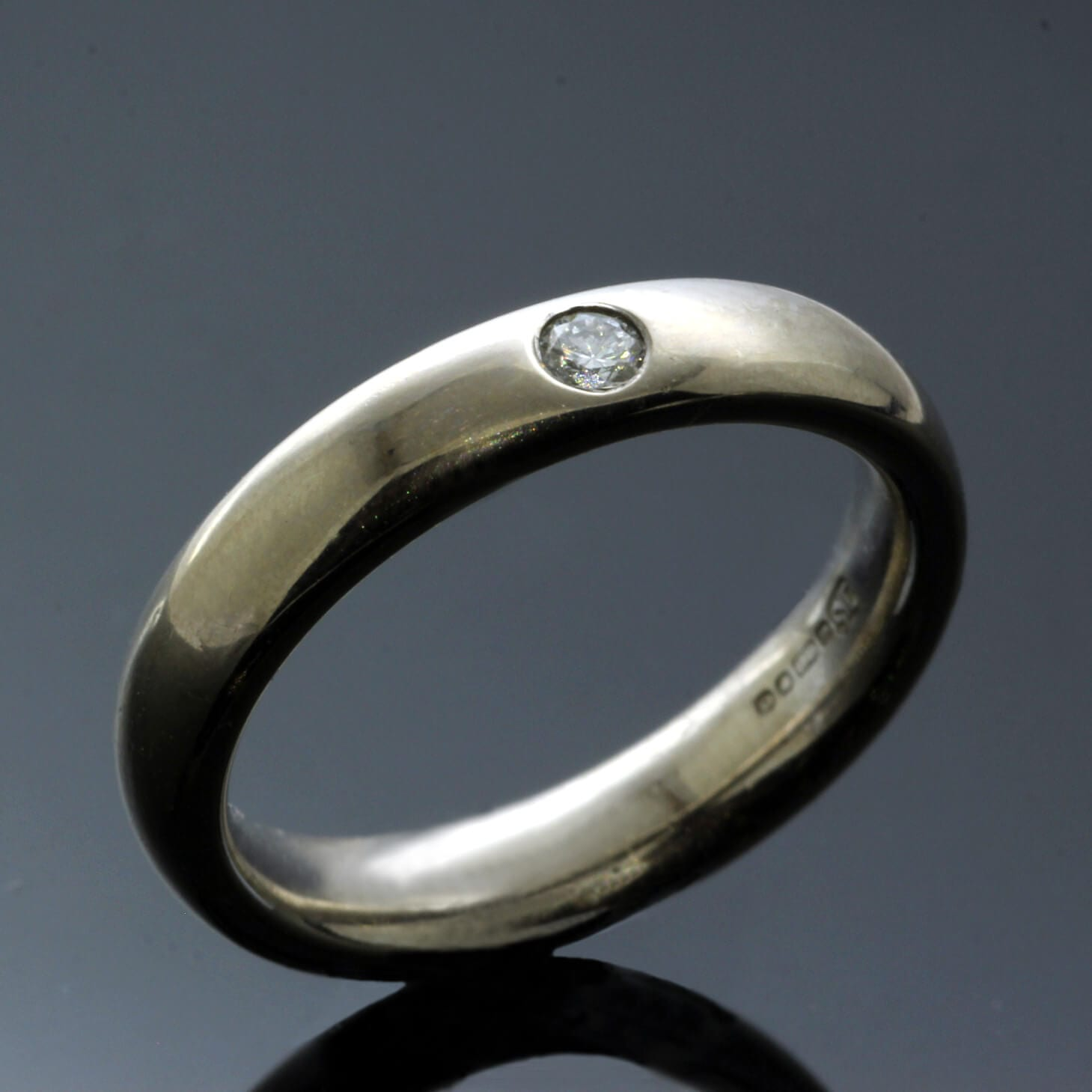 Unique personal handmade wedding bands Diamond flush set 18ct White Gold Court ring