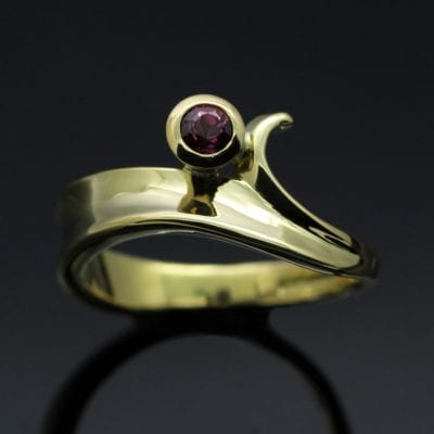 Bespoke handcrafted solid Gold and Ruby modern ring