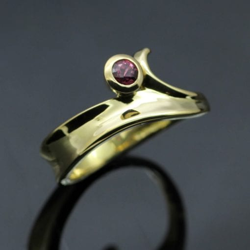 Bespoke handmade contemporary yellow gold ruby ring