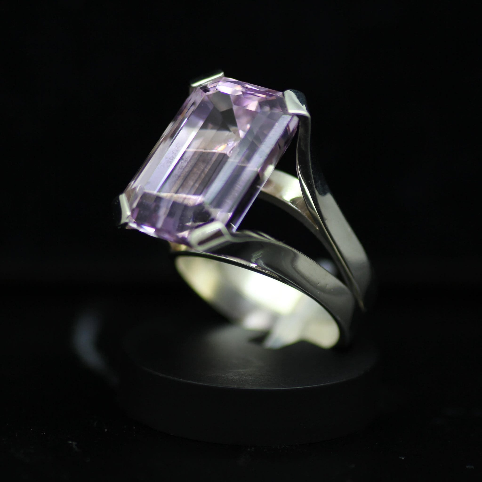Bespoke Emerald cut Kunzite cocktail ring by julian stephens