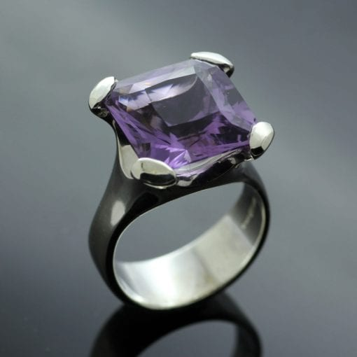 Handmade bespoke statement ring with square cut Amethyst