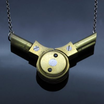 Handcrafted statement necklace upcycled brass compass Sapphires