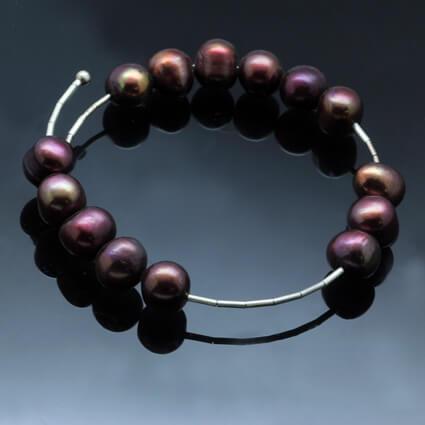 burgandy pearl modern bracelet handcrafted