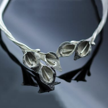 Handmade Sterling Silver calla lilly floral choker