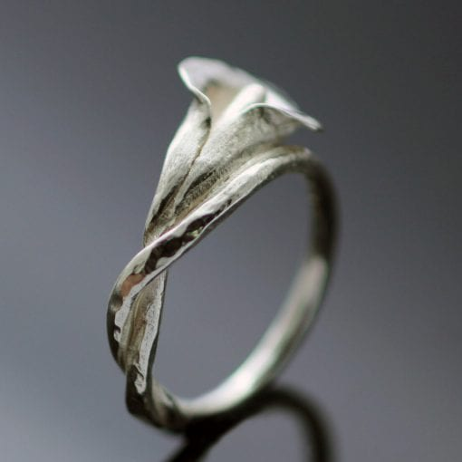 sterling 925 Silver calla lilly flower ring