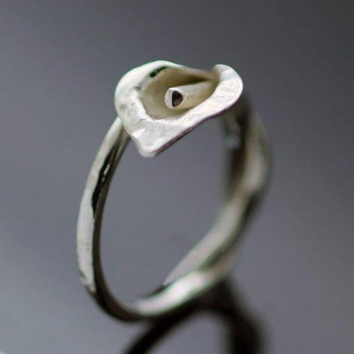 Unique Silver Calla Lilly ring handmade