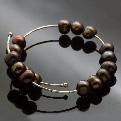 Chocolate Pearl contemporary bracelet handmade