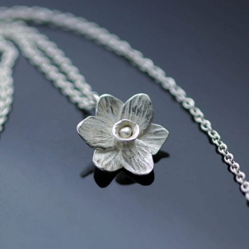 Unique solid Silver Daffodil charm necklace