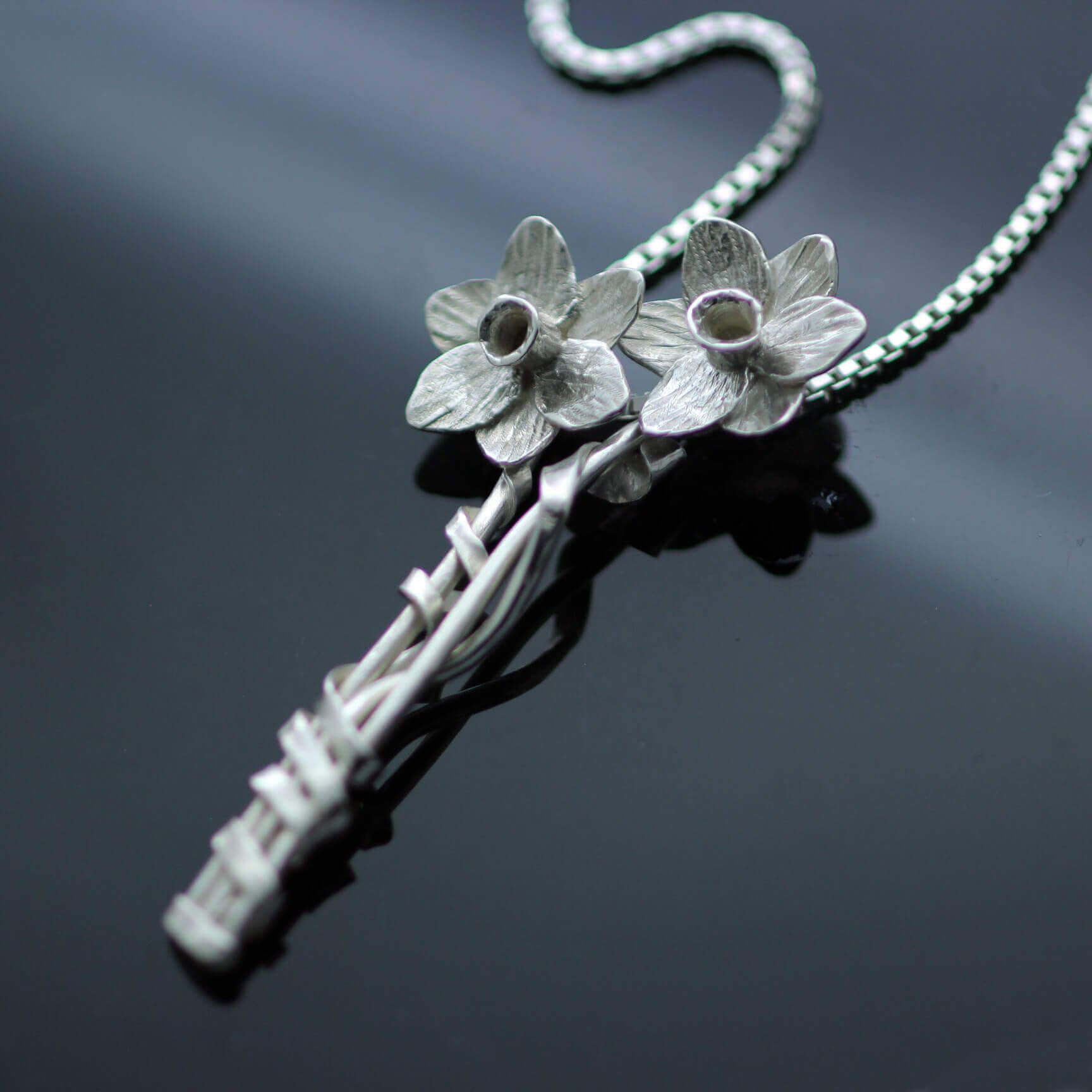Handcrafted silver daffodil modern floral pendant