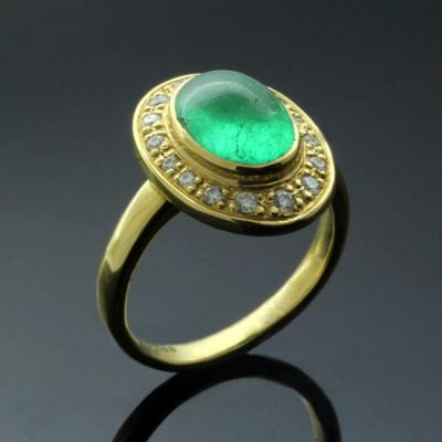Cabochon cut Emerald Halo Diamonds Yellow Gold handmade ring