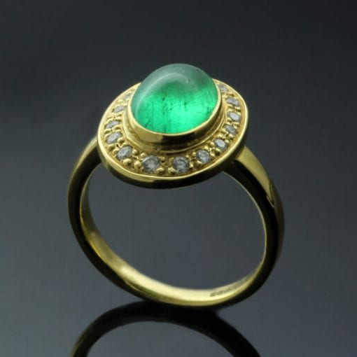 Handcrafted 18ct Yellow Gold dress ring with Cabochon cut Emerald and Halo of Diamonds