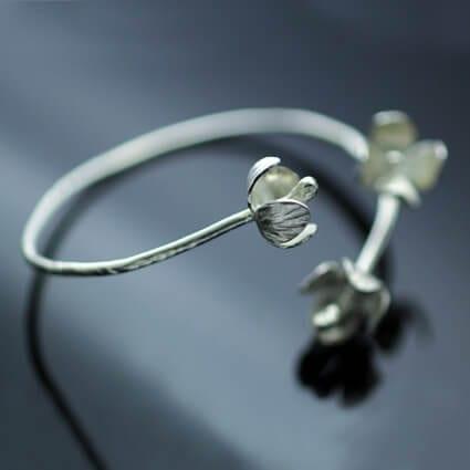 Handmade Sterling Silver fuscia floral cuff