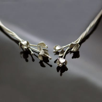 Handmade floral silver statement choker unique design