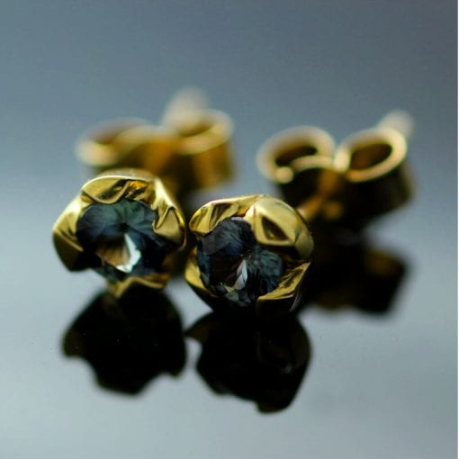 Round Brilliant blue Sapphire 18ct yellow gold handmade stud earrings