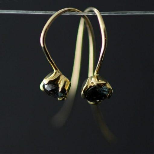 Colour change blue Sapphire Yellow Gold handmade modern dangle earrings