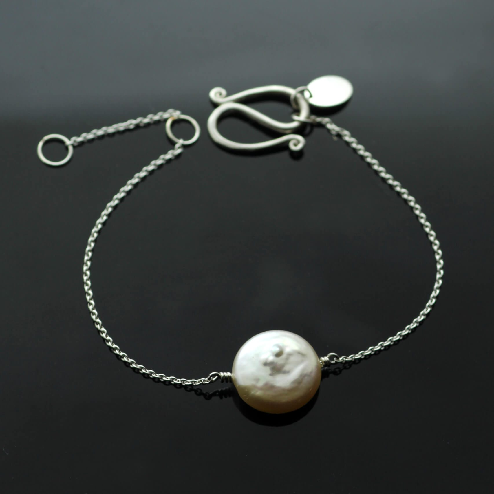Contemporary white Pearl Sterling Silver handcrafted bracelet