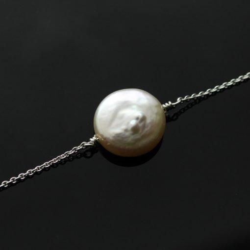 Modern minimal cream button pearl sterling silver handmade bracelet