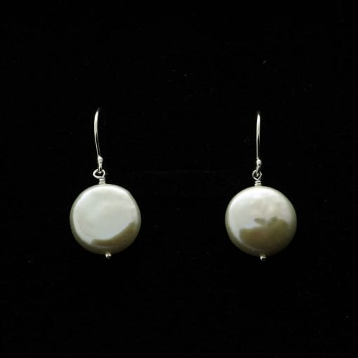Handmade Sterling Silver modern cream button Pearl earrings