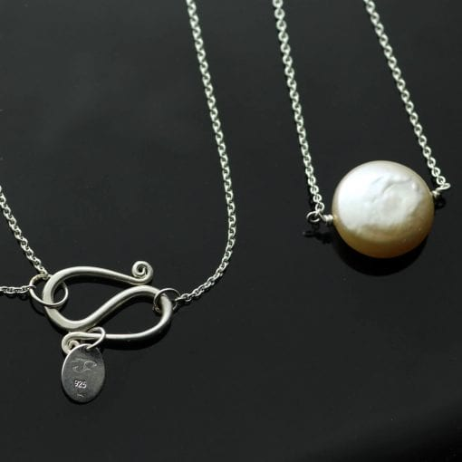 Contemporary minimal Pearl Sterling Silver handmade necklace