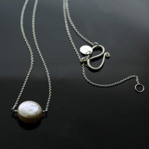 Handcrafted modern button Cream Pearl Silver pendant