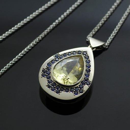 Pear cut Champagne Zircon Round brilliant Sapphire White Gold modern pendant