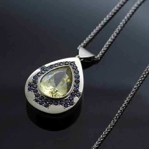Champagne Zircon gemstone with Round Brilliant Sapphires 18ct White Gold modern pendant