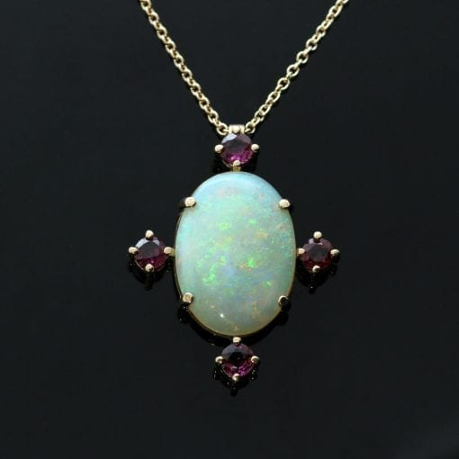 Cabochon cut Fire Opal Round Brilliant Ruby Rose Gold modern pendant